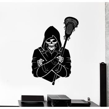 Vinyl Wall Decal Skull Skeleton Lacrosse Player Game Ball Stickers Mural (g695)
