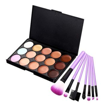 DCCKHG7 15 Color Face Concealer Makeup Palette+7PCS Makeup Brushes Eyelash Comb Eyeshadow Lip Foundation Brush Nake Contour Makeup Set