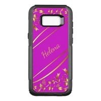 Pink and chic gold colored classic decor with name OtterBox commuter samsung galaxy s8+ case