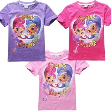shimmer and shine Girls T-shirt pure cosplay cotton short sleeve for children costume