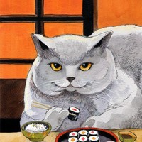 $20.00 Sushi Cat Matted Art print 8X10 signed by bluebirdiesinger on Etsy