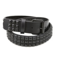 Double Black Pyramid Stud Belt