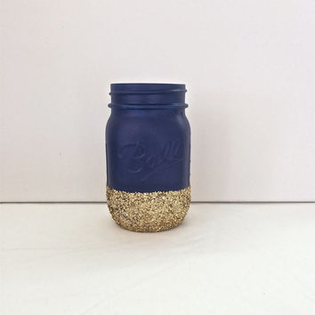 Matte Navy + Gold Glitter Mason Jar. Perfect for Weddings, Birthday Parties, Makeup Brush Holder, Bridal Showers, Nautical Themed Events