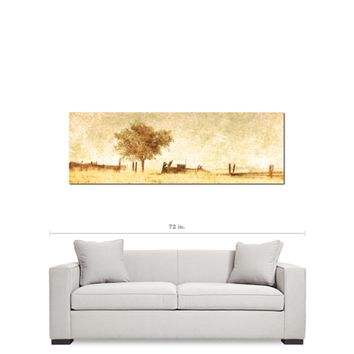 Rustic Man Cave - Panoramic Canvas - Rural Landspace - Man Cave Art - 20 x 60 Canvas - Large Canvas - Tan Man Decor - Nature Wall Art