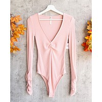 Free People - Cozy Up With Me Knitted Bodysuit - Pink Salt