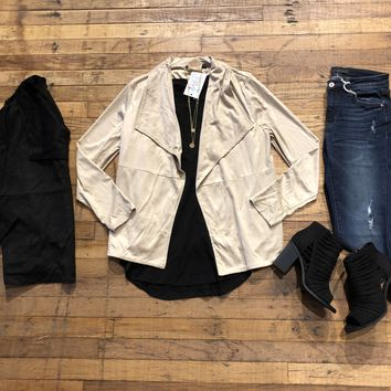SALE! Luxe Life Suede Jacket in Black and Taupe
