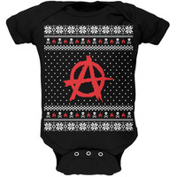 Anarchy Ugly Christmas Sweater Black Soft Baby One Piece