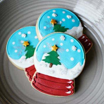 Snow Globe Christmas Cookies - 1/2 or Full Dozen Christmas Sugar Cookies
