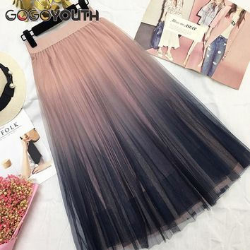Gogoyouth Long Tulle Skirt Women Summer Gradient Korean Elegant High Waist A-line Pleated School Midi Skirt Female