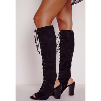 Lace Up Cut Out Peep Toe High Chunky Heels Long Boot Sandals