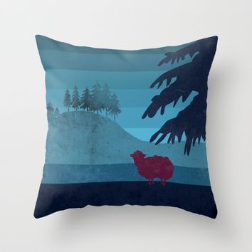 Sheep you are not alone Throw Pillow by Xiari