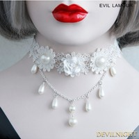White Wedding Lace Flower Pearl Necklace - Devilnight.co.uk