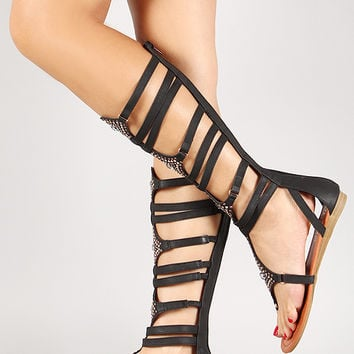 Liliana Jeweled Zip Up Strappy Gladiator Flat Sandal