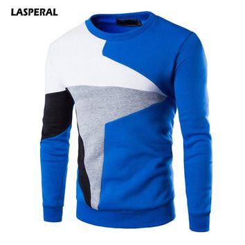 LASPERAL Sports Hoodies Men Running T-shirt Winter Long Sleeve Sweatshirt Geometric Print Fitness Athleisure Top Mens Tracksuit