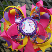 5 inch Lisa Frank Inspired ( Rainbow  Horse )  Stacked  Boutique Bow