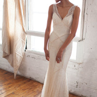 Beaded Lace Art Deco 1930s Inspired Sleeveless Bridal Gown