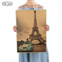Paris Eiffel Tower Nostalgia Photo Kraft Paper Bar Retro Decorative Poster