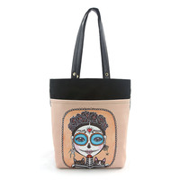 Day of the Dead Girl Sugar Skull w/ Cats Canvas Tote Bag Purse Art