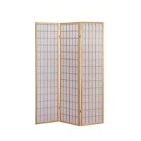 3-Panel Wooden Room Divider Japanese Shoji Screen in Natural