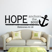 Bible Verse Wall Decal Hope Anchors The Soul Hebrews 6:19 Wall Decals Nautical Anchor Scripture Wall Lettering Housewares Home Decor Q123