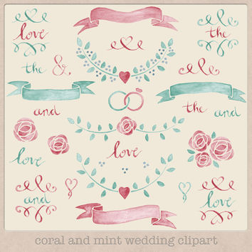 Wedding Clip Art Watercolour Coral and Mint Laurels wreaths hand drawn painted watercolor clipart wedding invitations making scrapbooking