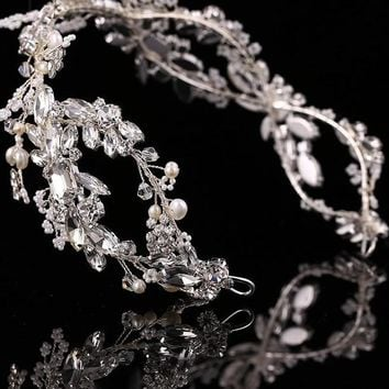 Crystal Bridal Hair Vine Wreath Headpiece