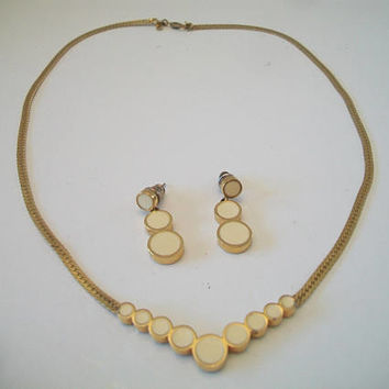 Vintage Monet Cream Enamel Jewelry Set Circles Bubble Costume Jewelry