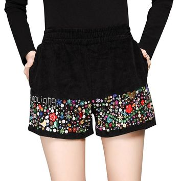 LYFZOUS Sequined Corduroy Shorts Feminino New Fashion Beaded High Waisted Outwear Shorts Women All-match Slim Wide Leg Shorts