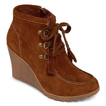 MIA girl™ Brisk Lace-Up Wedge Booties