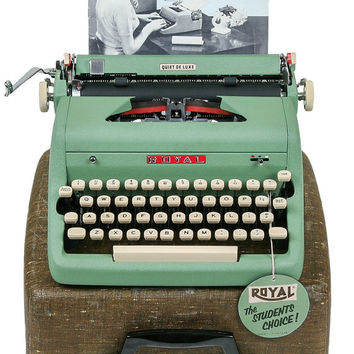 1956 Green Royal Quiet De Luxe Typewriter / Original Case / Near Perfect Condition / Professionally Serviced with New Ribbon