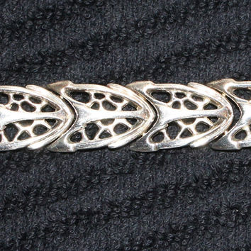 Unique Vintage Sterling Silver Cathedral Window Design Bracelet