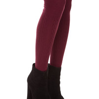 Charlize Over The Knee Socks - Burgundy - One Size / Burgundy
