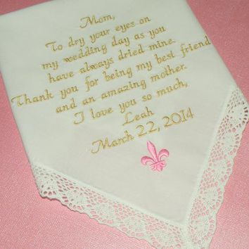 fleur de lis Wedding theme Embroidered Wedding Handkerchief Printed in Embroidery Mother of the Bride by Canyon Embroidery