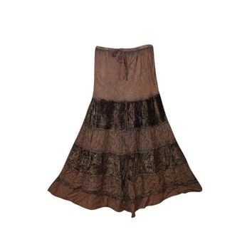 Mogul Womens Indian Skirt Velvet Touch Rayon A-LINE Boho Chic Hippy Gypsy Medieval Gothic Vintage Skirts - Walmart.com