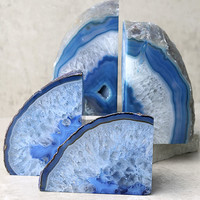 Read the Runes Blue Agate Bookends