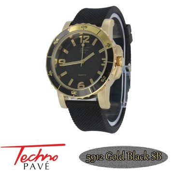 Techno Pave Sport Gold Black Rubber Watch