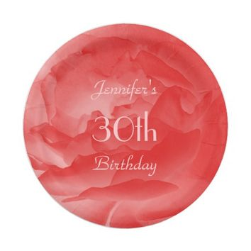 Coral Pink Rose Paper Plates, 30th Birthday Paper Plate