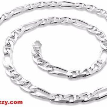 New Italy Solid Figaro Marina .925 Anti-Tarnish Silver Chain Necklace- 6.5mm 20""