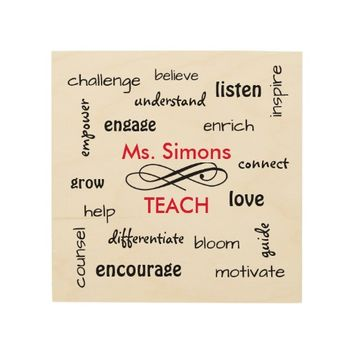 Personalized Teacher Gift - Words of the Job Wood Wall Art