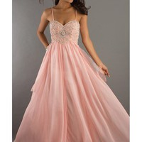 Amazing Pink A-line Spaghetti Straps Chiffon Graduation Dress
