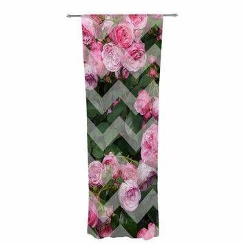 "Suzanne Carter ""Chevron Rose"" Pink Green Decorative Sheer Curtain"