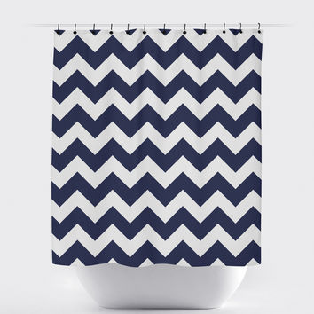 Navy Blue Chevron Shower Curtain
