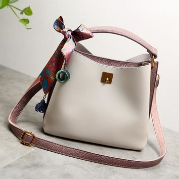 2017 Women Genuine Leather Handbags Luxury Women's Messenger Shoulder Bags summer Bucket Crossbody woman Luxury Brand new X95
