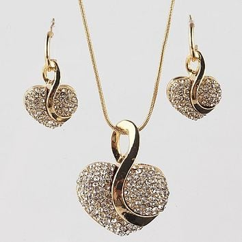 Gold-color Romantic Austrian Crystal heart shape Chain Necklace Earrings Jewelry Sets