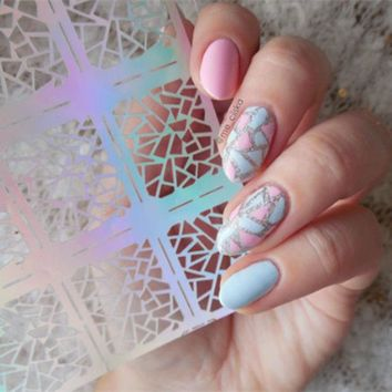 DCCKLG2 12 Tips/Sheet  Triangle Pattern Nail  Art  Stencil Stickers