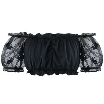 Atomic Black Floral Ruched Crop Top