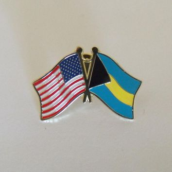 Bahamas Flag And USA Lapel Pin Crossed Friendship Pin