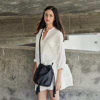 Black Nappa Leather Bucket Bag, Shoulder Leather Bag, Crossbody Purse, Gift For Her
