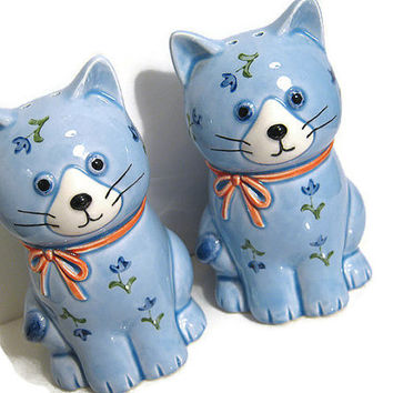 Otagiri Japan Ceramic Vintage Blue Cat Salt and Pepper Shakers