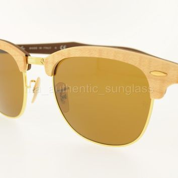 RAY-BAN SUNGLASSES RB 3016M 1179 51MM MAPLE FRAME BROWN LENS WOOD CLUBMASTER